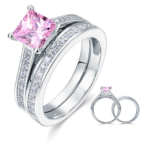 Pink Princess Cut 1.5 Carat 2-pc Ring Set