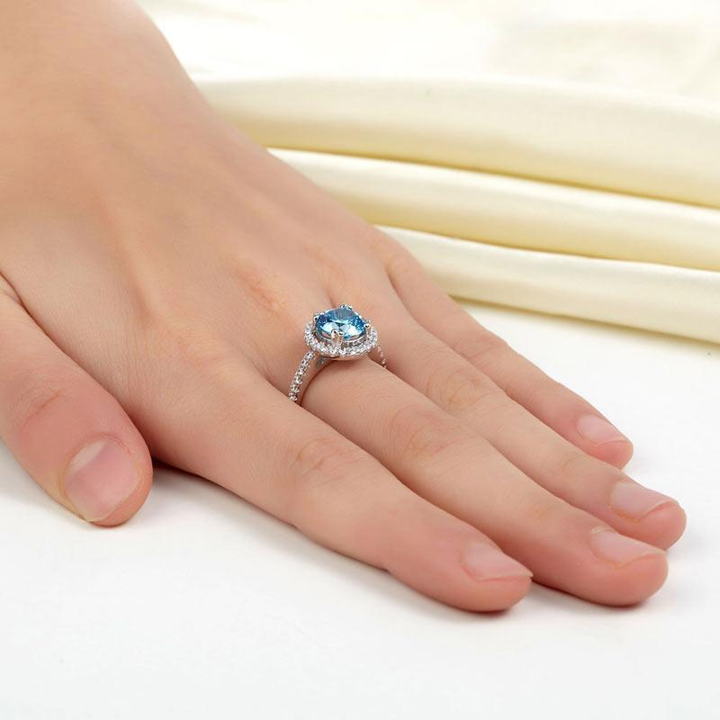 Round Cut, 3 carat, sterling silver, 925, ring, classic, studded, blue