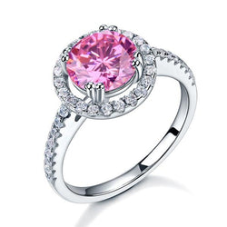 Round Cut, 3 carat, sterling silver, 925, ring, classic, studded, pink