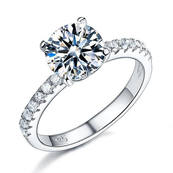 Round Cut 2 Carat Classic Embedded Ring