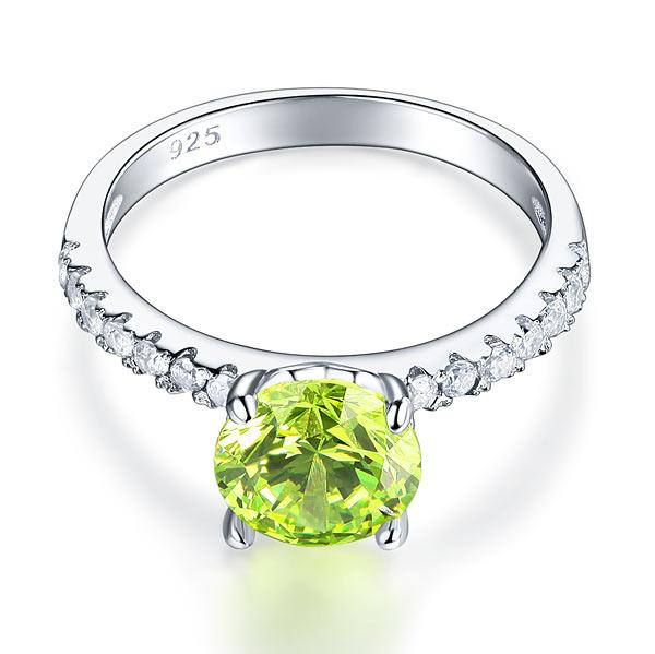 2 Carat Round Brilliant Cut Lime Green Promise Ring