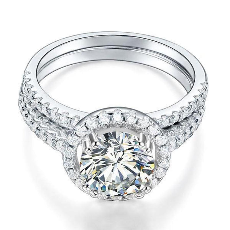 2 Carat Round Cut Created Diamond Halo Ring Set