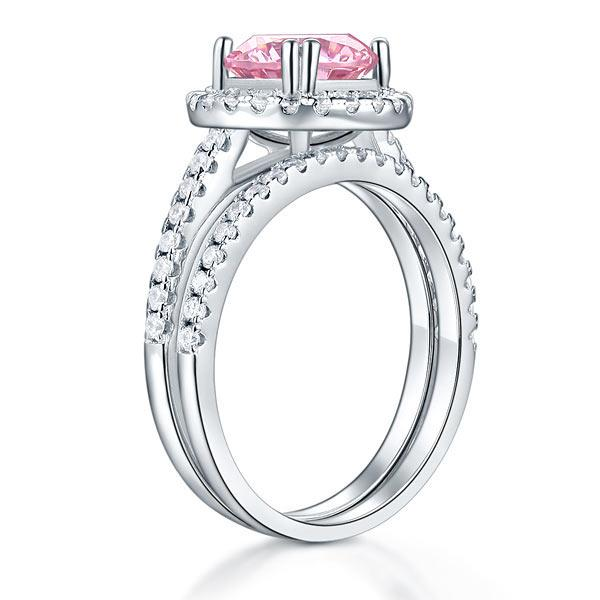 Round Cut, 2 carat, sterling silver, 925, ring, classic, studded, Pink, Set