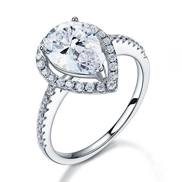 Pear Cut 2 Ct Crafted White Sapphire Ring