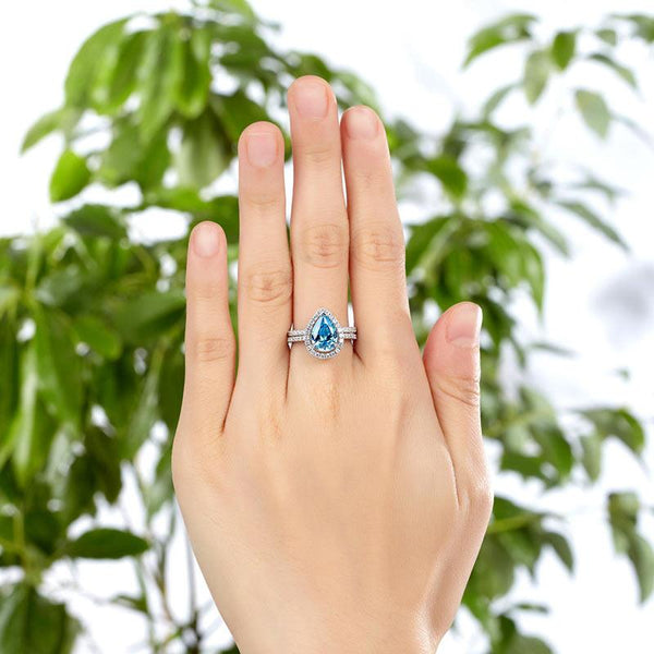 Aqua Pear Cut 2 Carat White Sapphire Bezeled Ring Set
