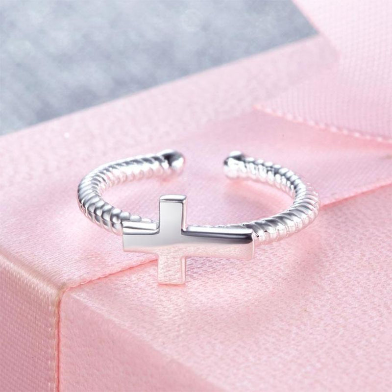 Girls Adjustable Twisted Cross Ring