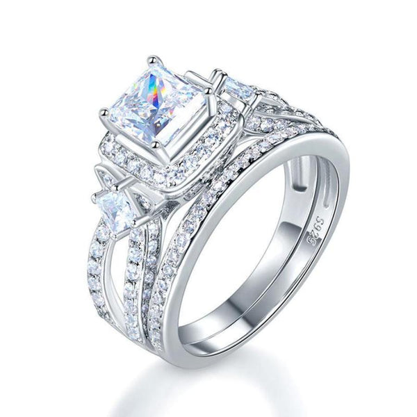 Princess Cut Crafted  White Sapphire  Engagement Ring Set