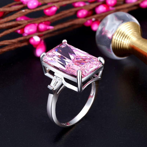 Pink 8.5 Carat Princess Cut Diamante Stone Ring