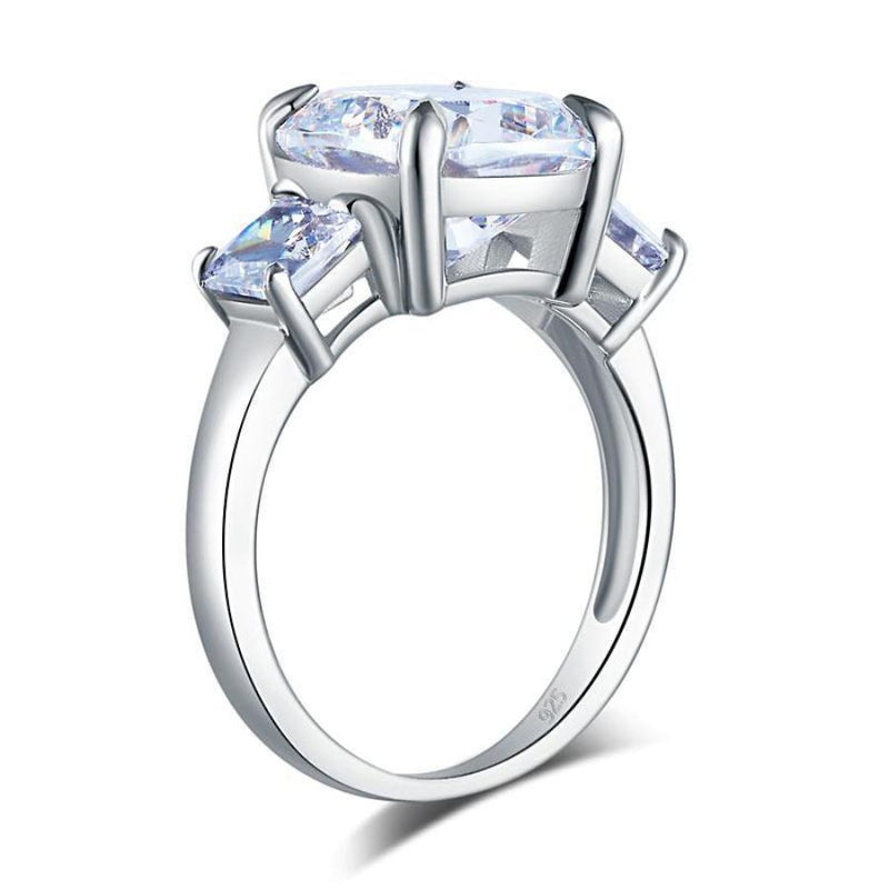 Cushion Cut 4 Carat Crafted White Sapphire Promise Ring