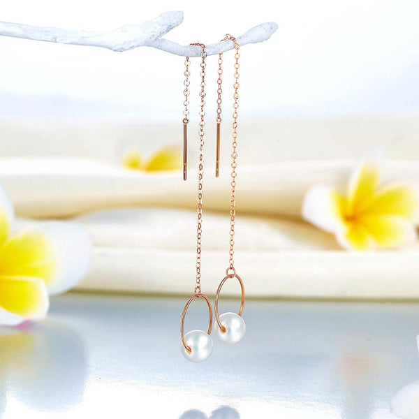 Fresh Water Pearl 18K/750 Rose Gold Long Line Earrings