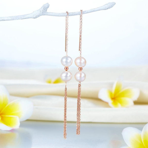 Chained Double Fresh Water Pear Long Line 18K/750 Rose Gold Earrings