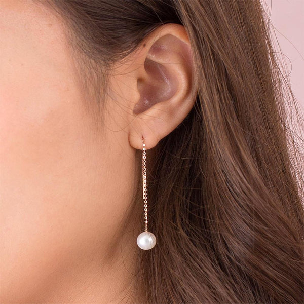 Chained Simplistic 18K/750 Rose Gold Fresh Water Pearl Earrings