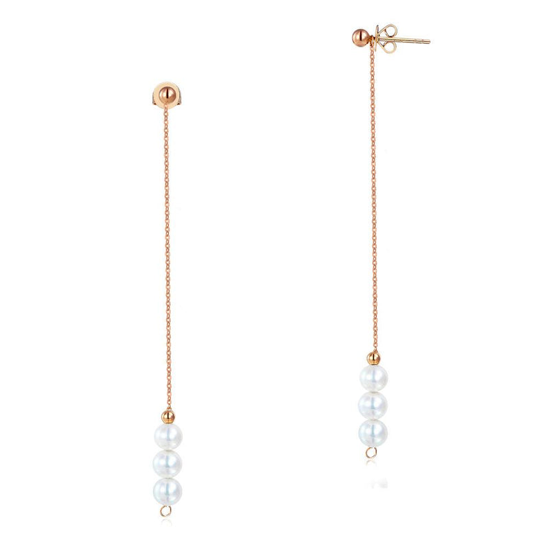 Triple Fresh Water Pearl 18K/750 Rose Gold Long Line Earrings