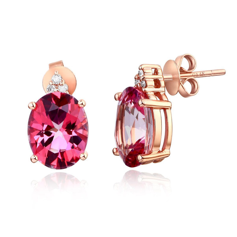 Oval Cut Pink Topaz 3.5CT/.07 Diamonds Drop Stud Earrings
