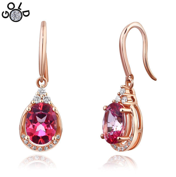 Pink Topaz 1.6 CT / 0.185 CT Diamond 14K Rose Gold Dangle Earrings