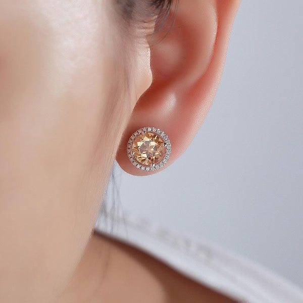 Round Cut Yellow Canary Topaz 2.5 CT/.285 CT Diamonds 14K Gold Studs