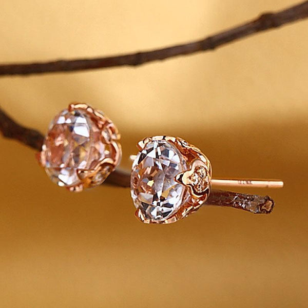 Round Cut Topaz  2.5 CT/.24 CT Diamonds 14K Rose Gold Crowned Base Studs