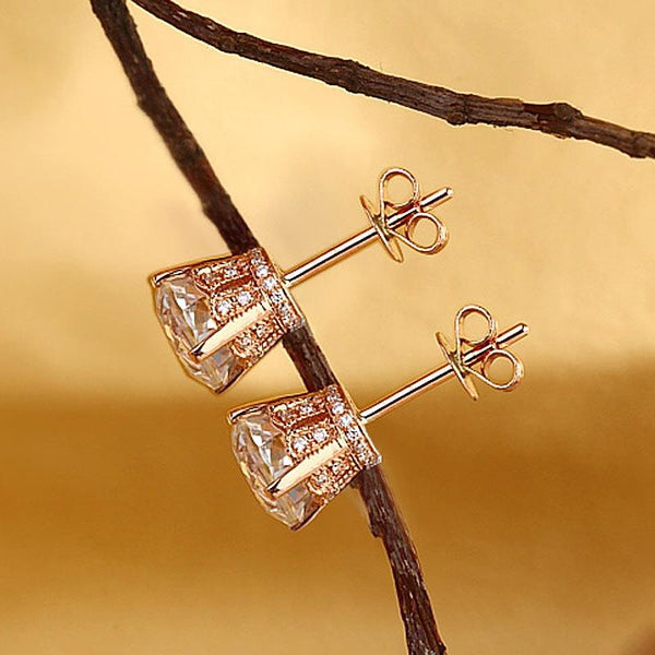 Vintage Round Cut 1.55 CT Topaz/.12 CT Diamonds 14K Rose Gold Studs