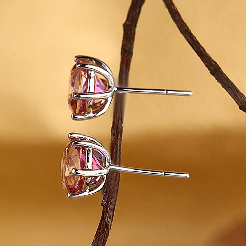 Round Cut Pink Topaz 2.5 CT 14K White Gold Claw Prong Studs