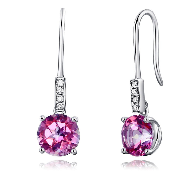 Round Cut Pink Topaz 2.5 CT 14K White Gold Dangle Earrings