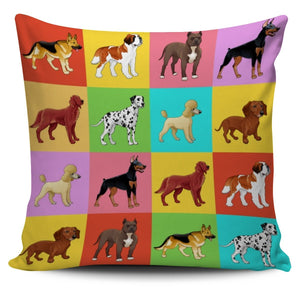 16 Dog Breeds Pillow Cover-DogsTailCircle