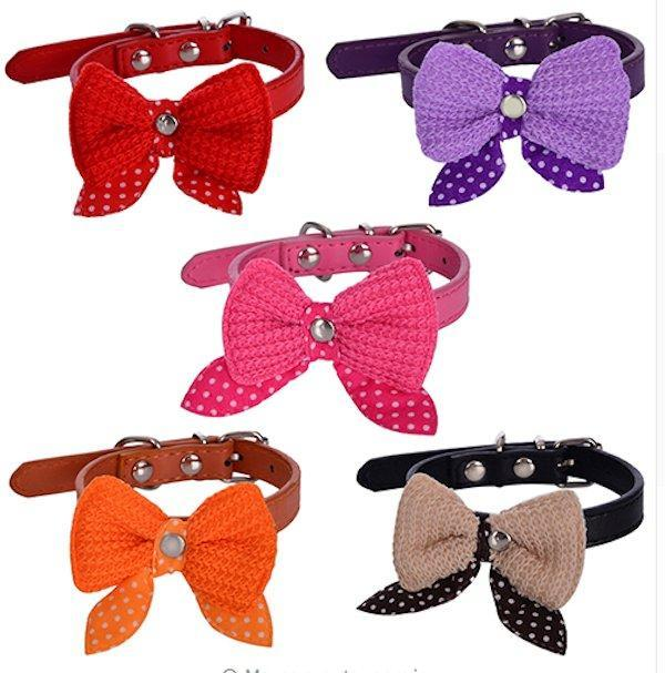 Adjustable Knitted Bowtie Dog Collar-DogsTailCircle