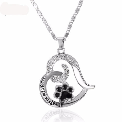 'Always in my Heart' Paw Pendant Necklace-DogsTailCircle