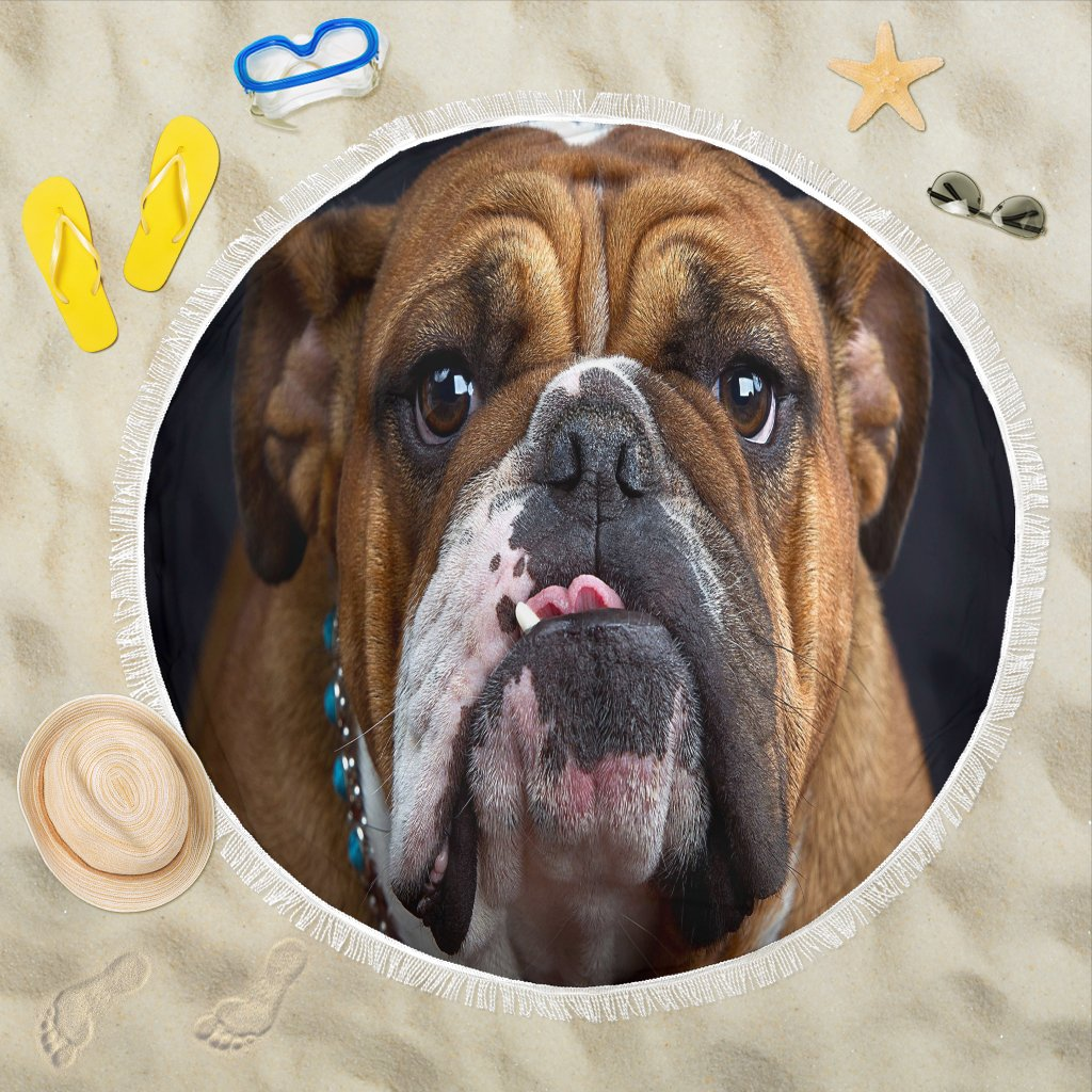 Bulldog Lovers Beach Blanket-DogsTailCircle
