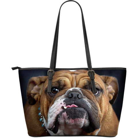 Bulldog Lovers Large Leather Tote-DogsTailCircle
