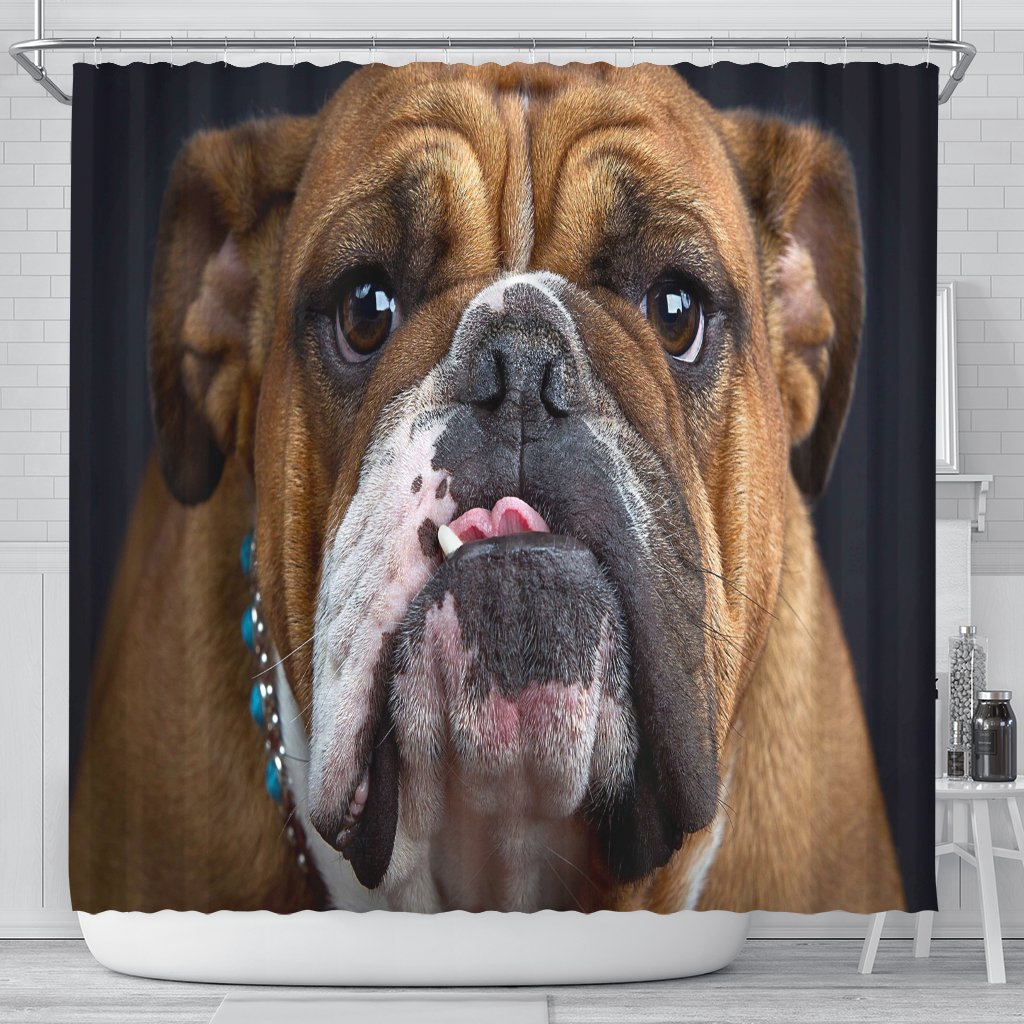 Bulldog Lovers Shower Curtain-DogsTailCircle