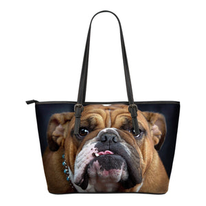Bulldog Lovers Small Leather Tote-DogsTailCircle
