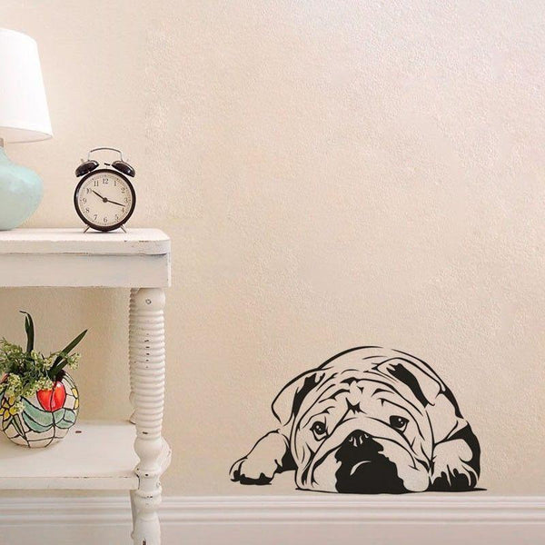 Lazy Bulldog Dog Vinyl Wall Art Decal-DogsTailCircle