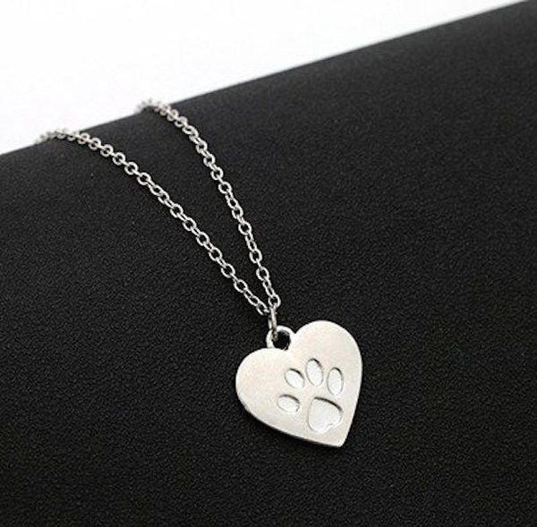 Love Heart Paw Pendant Necklace-DogsTailCircle