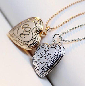 Lovely Keepsake Heart Dog Paw Photo Frame Locket Necklace-DogsTailCircle