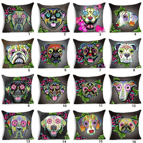 Mandala Floral Dog Love Throw Pillow Cover-DogsTailCircle