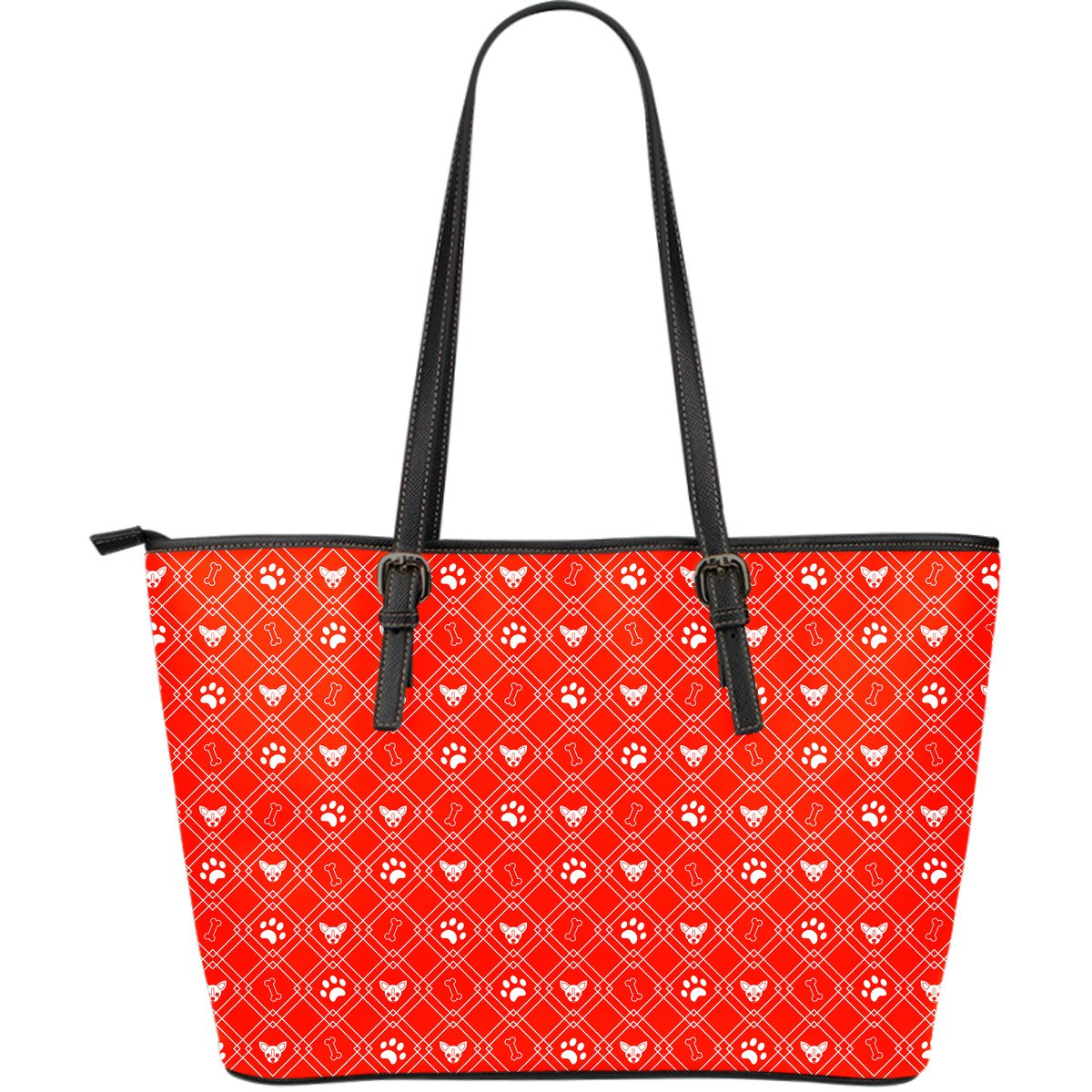 Red Dog Lover Large Leather Tote-DogsTailCircle