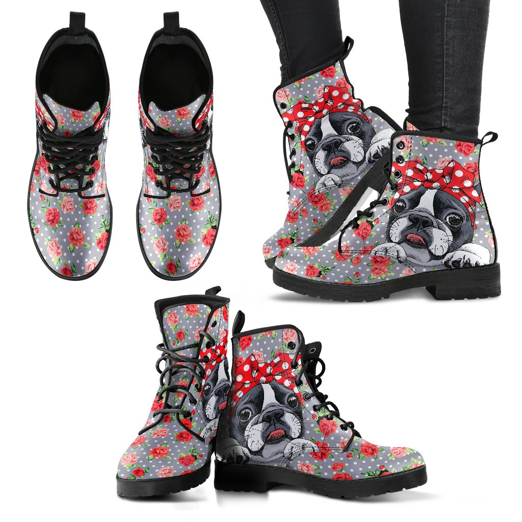 Roses and Bulldog Handcrafted Women's Boots-DogsTailCircle