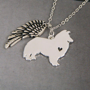 Sheltie Sheepdog My Angel with Wings Dog Necklace-DogsTailCircle