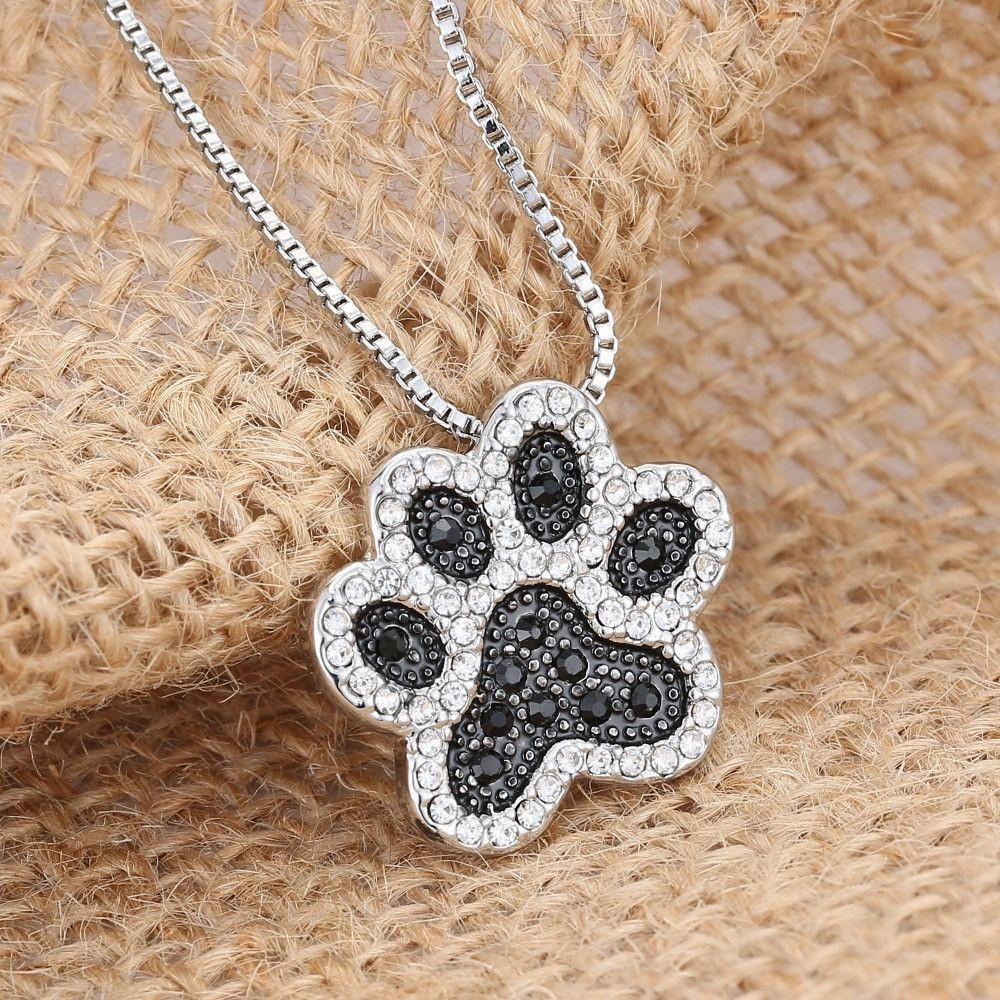 Silver Plated Black and White Crystal Rhinestone Dog Paw Necklace-DogsTailCircle