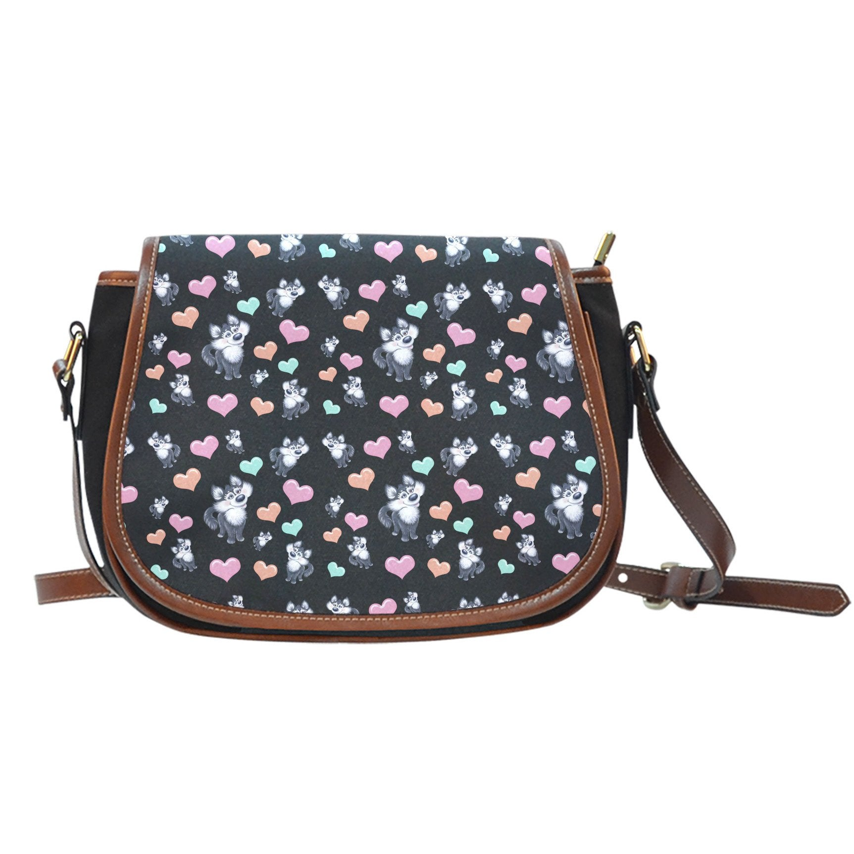 Snow Dog Lovers Canvas Saddle Bag-DogsTailCircle
