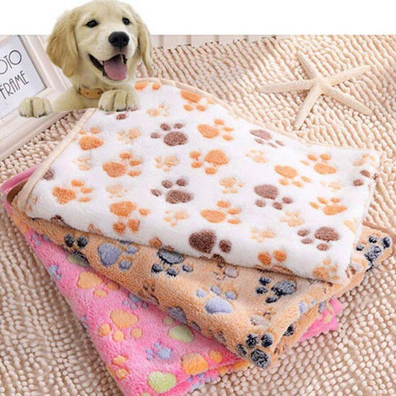 Soft Paw Print Fleece Blanket For Small Dog or Puppy-DogsTailCircle