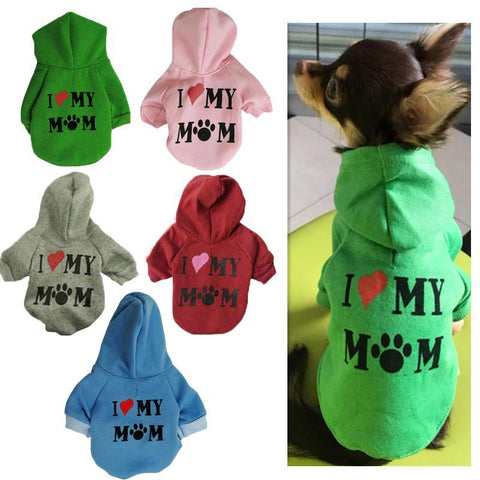 Warm 'I Love Mom' Dog Hoodie-DogsTailCircle