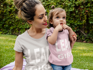 Mother and Toddler Girl Wearing Matching Lead Like A Girl T-Shirts