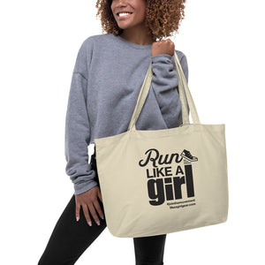 Run Like A Girl - BLK (Large Organic Tote)