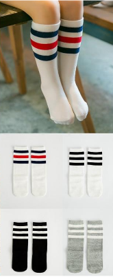 Baby Girl - spring and summer three bars striped cotton socks