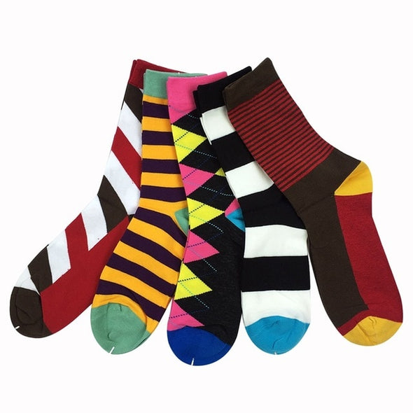 Men luxury colorful Business socks, US 7.5-12 (5 pair)
