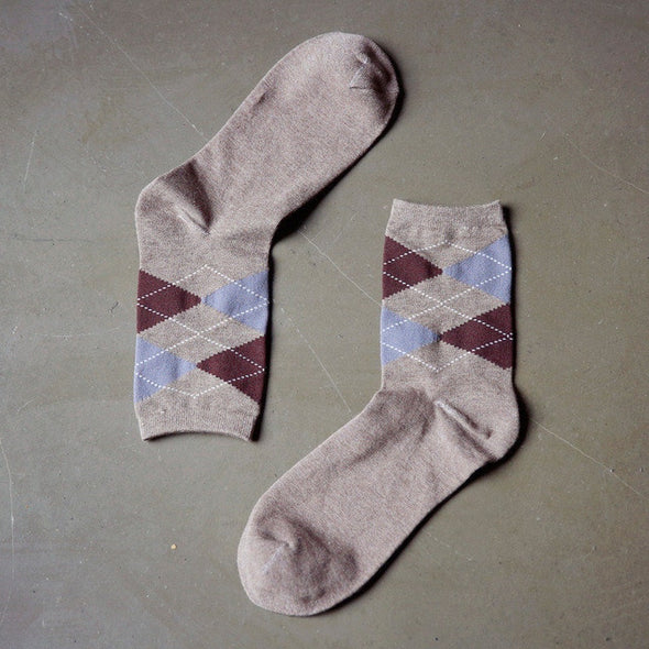 Autumn winter classic colorful Diamond lattice patterns men business cotton socks male fashion socks