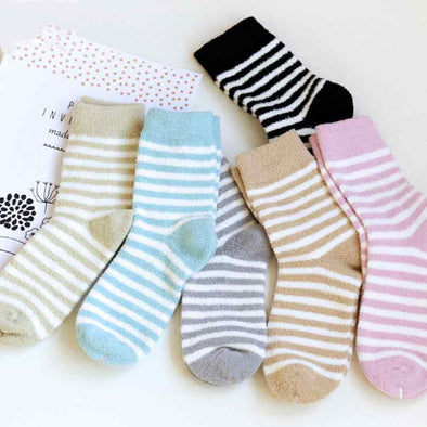 Women Stripe Socks Coral Fleece Socks