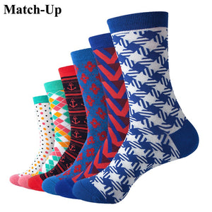 Match-Up Men's colorful  Dress combed cotton sock New Style socks (6pairs/lot )