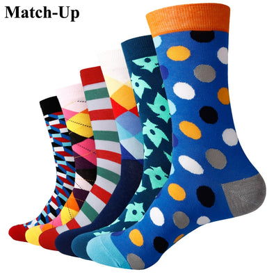 Match-Up Men's colorful combed cotton socks wedding gift socks (6 pair)